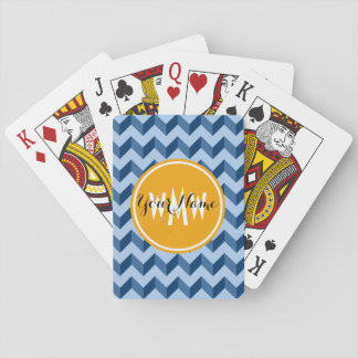 Monogrammed Tiffany and Navy Blue Modern Chevron Playing Cards