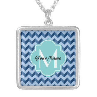 Monogrammed Tiffany and Navy Blue Modern Chevron Silver Plated Necklace