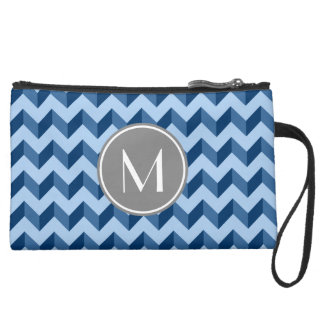 Monogrammed Tiffany and Navy Blue Modern Chevron Suede Wristlet