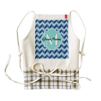 Monogrammed Tiffany and Navy Blue Modern Chevron Zazzle HEART Apron