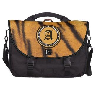 Monogrammed Tiger Fur Texture Commuter Bag