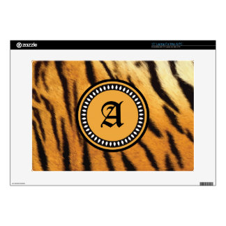 "Monogrammed Tiger Fur Texture Decal For 15"" Laptop"