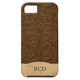 Monogrammed Tooled Leather Look Rustic Country iPhone 5 Case