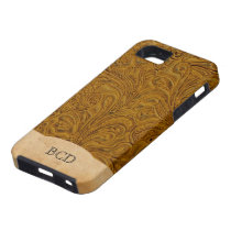 Monogrammed Tooled Leather Look Rustic Country iPhone SE/5/5s Case