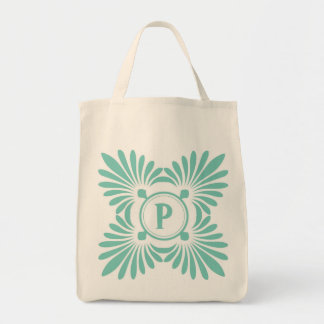 Monogrammed Tote Bags:Aqua Green Floral Pattern