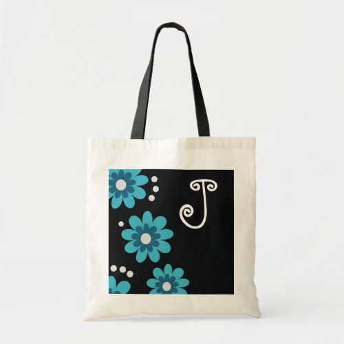 Monogrammed tote bags::Blue Flowers Budget Tote Bag