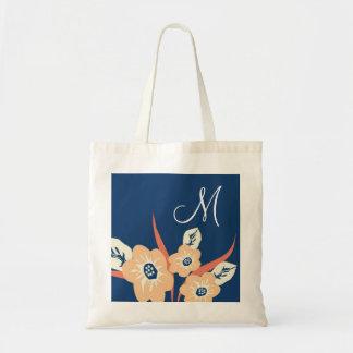 Monogrammed Tote Bags-Floral Monogram Bag