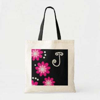 Monogrammed tote bags Pink Flowers