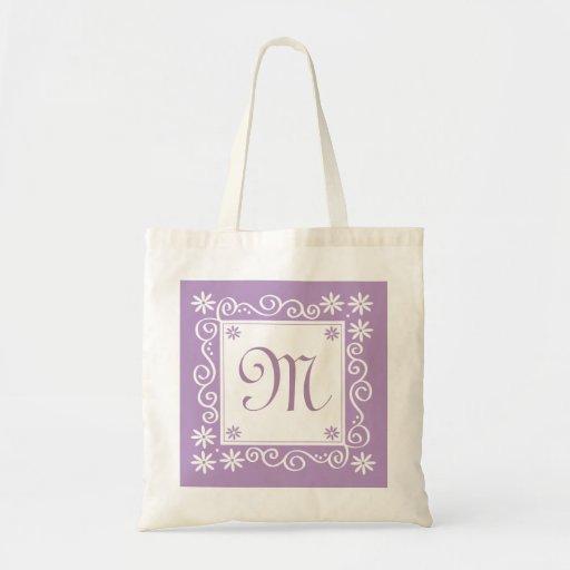 Monogrammed Tote Bags-Purple  Flowers