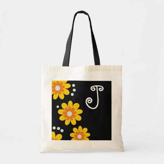 Monogrammed tote bags::Yellow Flowers