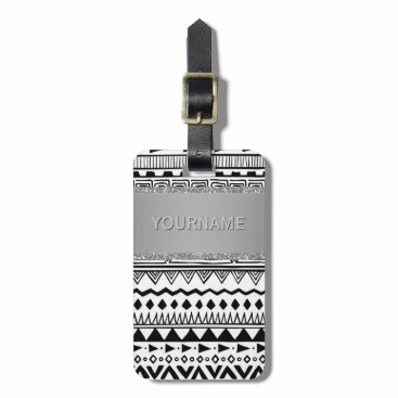 Aztec Themed Monogrammed Tribal Pattern Boho Black and White Luggage Tag