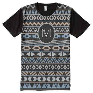 Monogrammed Tribal Pattern Drk All-Over Print T-shirt