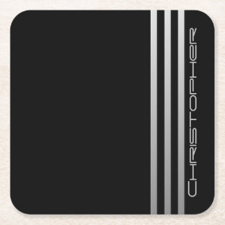 Monogrammed Triple Gradient Bars Square Paper Coaster