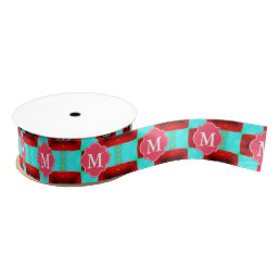 Monogrammed Turquoise and Red Pattern Grosgrain Ribbon