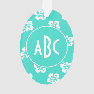 Monogrammed Turquoise and White Hawaiian Pattern