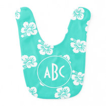 Monogrammed Turquoise and White Hawaiian Pattern Baby Bib