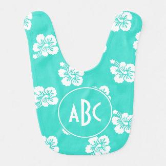 Monogrammed Turquoise and White Hawaiian Pattern Baby Bib