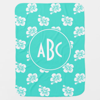 Monogrammed Turquoise and White Hawaiian Pattern Swaddle Blanket