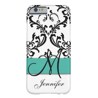 Monogrammed Turquoise Black White Swirls Damask Barely There iPhone 6 Case