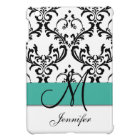 Monogrammed Turquoise Black White Swirls Damask iPad Mini Case