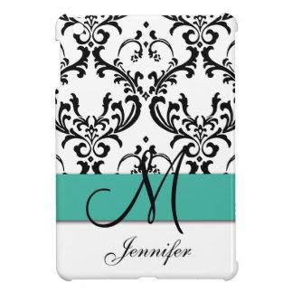Monogrammed Turquoise Black White Swirls Damask iPad Mini Cover