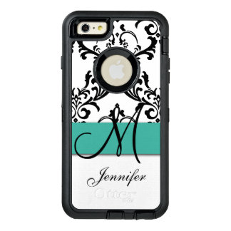 Monogrammed Turquoise Black White Swirls Damask OtterBox Defender iPhone Case