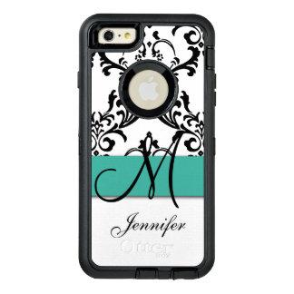 Monogrammed Turquoise Black White Swirls Damask OtterBox iPhone 6/6s Plus Case