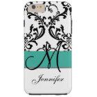 Monogrammed Turquoise Black White Swirls Damask Tough iPhone 6 Plus Case