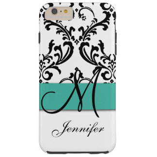 Monogrammed Turquoise Black White Swirls Damask Tough iPhone 6 Plus Case