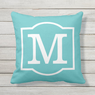 Monogrammed | Turquoise Blue and White Throw Pillow