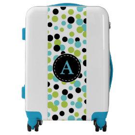 Monogrammed Turquoise Polka Dot Luggage
