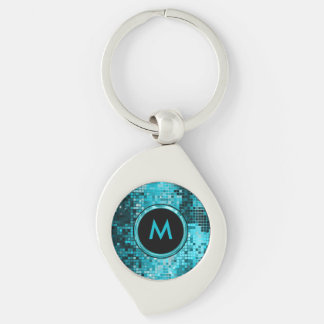 Monogrammed Turquoise Sequence Glitter Keychain
