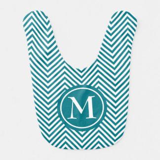 Monogrammed Turquoise & White Zigzag-Baby Bib
