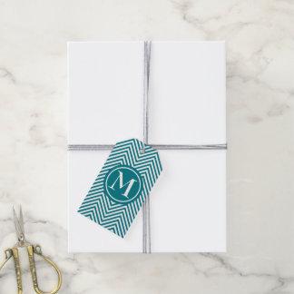 Monogrammed Turquoise & White Zigzag Gift Tag