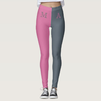 Monogrammed Two Tone Personalized Leggings