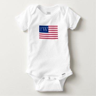 USA Themed Monogrammed USA Flag Baby Onesie