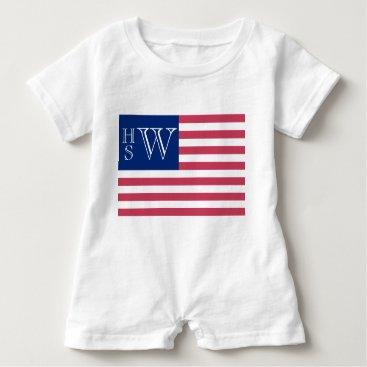 USA Themed Monogrammed USA Flag Baby Romper