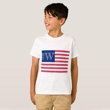 USA Themed Monogrammed USA Flag T-Shirt