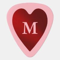 Monogrammed Valentine heart Guitar Pick