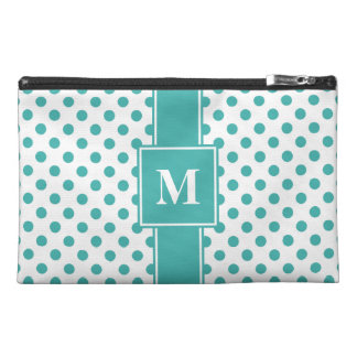 Monogrammed Verdigris Green on White Polka Dots Travel Accessories Bags