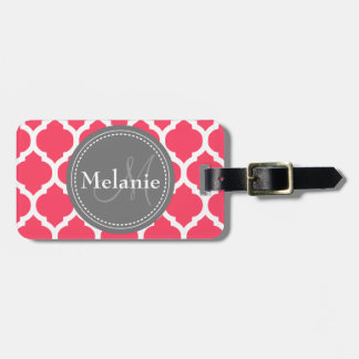 Monogrammed Vibrant Pink & Grey Quatrefoil Tag For Luggage