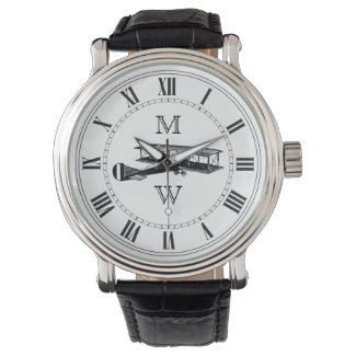 Monogrammed Vintage Airplane Wrist Watch