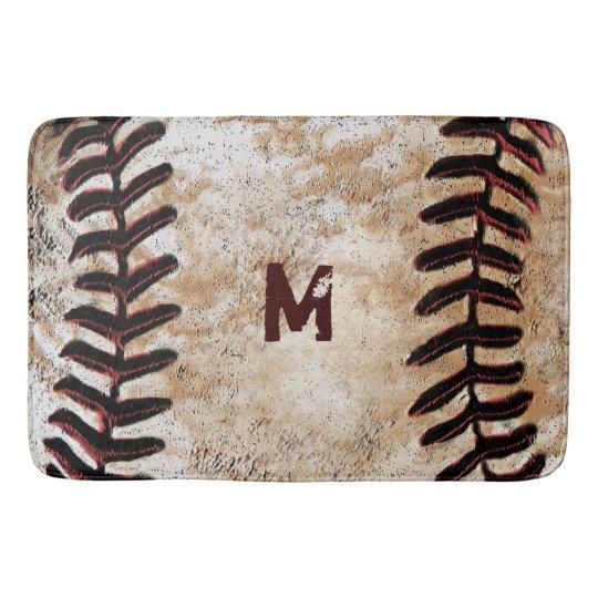 Baseball Rug: Monogrammed Vintage Baseball Bath Rug For Man Cave