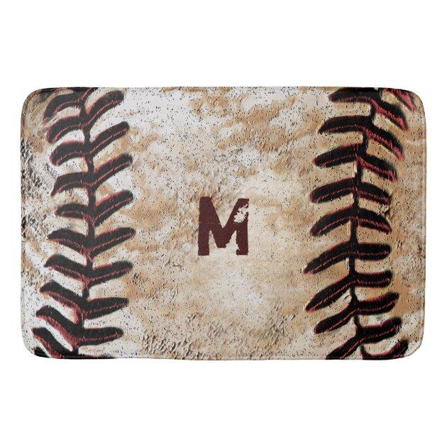Monogrammed Vintage Baseball Bath Rug For Man Cave   Zazzle.com