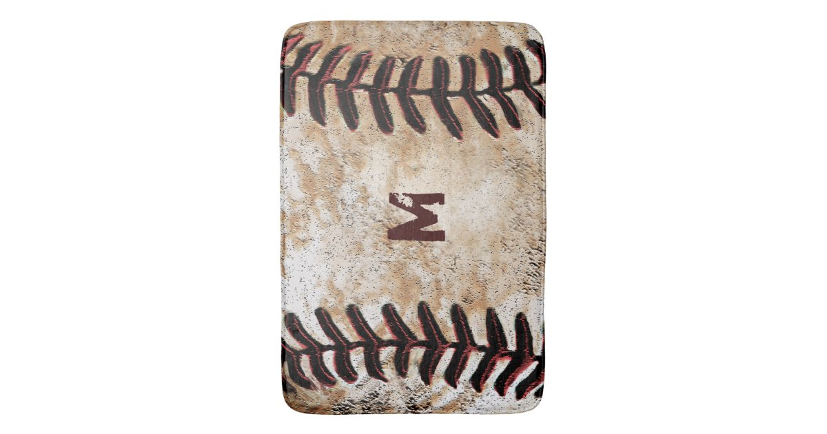 Monogrammed Vintage Baseball Bath Rug For Man Cave Zazzle