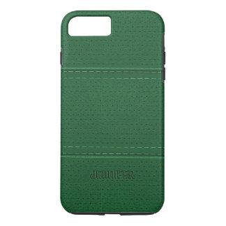 Monogrammed Vintage Dark Green Faux Leather iPhone 7 Plus Case