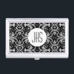 "Monogrammed vintage floral womens PERSONALIZE Business Card Case<br><div class=""desc"">Sophisticated,  feminine and stylish business card holders featuring your initials set on a white polka dot circle framed by a symmetrical leaf vector swirls. IDEAL FOR - Corporate gifts,  business professionals and anyone looking for a chic and elegant case to hold their cards.</div>"