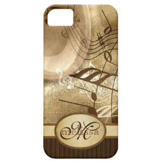 Monogrammed Vintage Gold Gramophone Musical Notes iPhone SE/5/5s Case