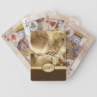 Monogrammed Vintage Gold Gramophone Musical Notes Poker Deck
