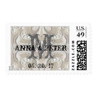 Monogrammed Vintage Lace Rustic Wedding Postage Stamps